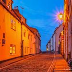 Cobbled street at night. thumbnail