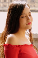Eyes Closed (Alan1954) Tags: woman london portrait red 2018 chinese beautiful