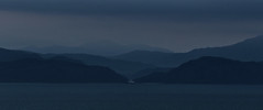 Scottish highlands in the fog (rubenfriis) Tags: isleofeigg072018 scotland mountains sunset night evening silhouette blue mist fog clouds sea coast canon eos1300d 55250mm