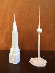 Unpainted Physical Prints (Doctor Octoroc) Tags: shapeways 3dprinting 3dprinted 3dprint chrysler building berliner fernsehturm berlin tv tower germany new york ny nyc model 3d cad solidworks
