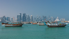 Old dhows and modern skyscrapers. (Gergely_Kiss) Tags: dohawaterfront katar qatar dohacorniche corniche doha