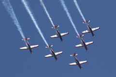 "Indonesian Airforce ""Jupiters"", KT-1B, Singapore Airshow 2018 (ColinParker777) Tags: indonesia airforce air force aerobatic display team jupiters korean aerospace industries wongbee kt1b kt1 kt trainer jat training squadron 102 wsss sin singapore republic airshow show performance peform blue sky skies formation trails contrails chemtrails tni au aircraft aeroplane plane airplane aviation flying flight pilot canon 7d 7d2 7dmk2 7dmkii 7dii 200400 l lens zoom telephoto pro"