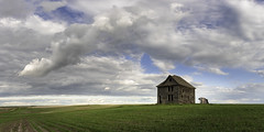 Once Upon a Tuesday (Flint Roads) Tags: nd northdakota usa abandoned blue bluesky car clouds decay deteriorated field forsaken green homestead house old rows rural vehicle