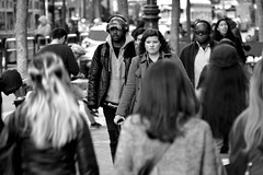 People on Market St 185 (TheseusPhoto) Tags: candid candids blancoynegro blackandwhite bnw monochrome monotone city citylife people streetphotography street streetportrait faces man men guy guys woman hair