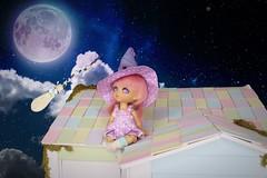Midnight Flight #2 (Arthoniel) Tags: marshmallowchai lati latiyellow latidoll nana tan witch miniature tiny moon broom magic bjd balljointeddoll doll figure collection resin jointed sky