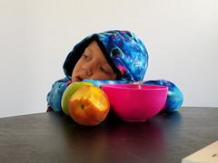 Still life (quinn.anya) Tags: sam preschooler stilllife fruit bowl peach apple tired table