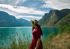 Self-Portrait Norway 2018 (amanecer334) Tags: norway fjord nature mountains girl portrait brunette wild summer europe scandinavia water sea norwegian norske flam travel woman female reddress flowers