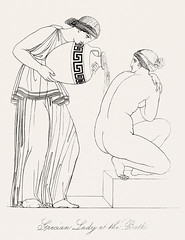 Grecian lady at the bath from An illustration of the Egyptian, Grecian and Roman costumes by Thomas Baxter (1782-1821).Digitally enhanced by rawpixel. (Free Public Domain Illustrations by rawpixel) Tags: illustration psd publicdomain otherkeywords afterlife anillustrationoftheegyptian ancient ancientgreek antique art artistic bath baxter belief cc0 drawing empire gods grecian grecianandromancostumes grecianladyatthebath greek historic historical history holding jar jug ladies lady mythology naked old pouring romans servant sitting sketch standing thomasbaxter vintage water worship