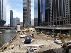 Chicago, Construction at Site of Old Low-Rise Morton Salt Building, Looking North toward Wolf Point (Mary Warren 10.8+ Million Views) Tags: chicago urban city architecture building skyscraper cityscape chicagoriver bridge demolition construction