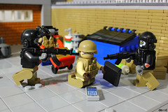 You want to cheat us? (Devid VII) Tags: k81 minifigure minifigures minifig devidvii lego moc diorama military devid vii drone fugitive commercial district soldiers war