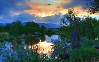 A smoky sunset in Colorado Springs, Colorado