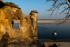 20180214-DSC_0424 (thomschphotography3) Tags: india asia varanasi benares ganga ganges river shadow afternoon light man ruins meditation streetphotography contemplation water