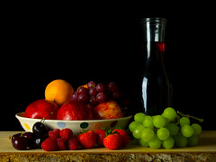 Fruit and Red Wine Still Life (Andy Sut) Tags: stilllife fruit studio wine apples strawberries grapes cherries oranges carafe andysutton food edible eating dining lumix bridgecamera amateur homestudio studiolighting still