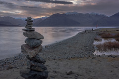 Stack of Stones (views@vista) Tags: clouds dawn india ladakh lake mountains nature outdoor pangongtso rocks shore stones sunrise twilight vacation water