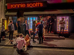 Outside Ronnie Scotts (Mike Hewson) Tags: ronniescotts soho london night photo24 jazz club street streetsoflondon city urban panasonic lumix gh5