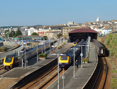 220003, 221123, 43056, 57602 Penzance (1) (Marky7890) Tags: gwr 43159 class43 class57 57602 hst xc 220003 221123 class220 voyager penzance railway cornwall cornishmainline train