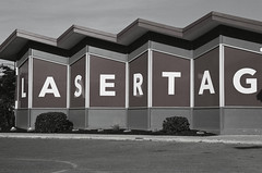 2016_11_Laser Tag (35mm)  North Brunswick, NJ (Visual Raconteur) Tags: canoneos3 architecture analog 35mmfilm peoplesrepublicofnj newjersey northbrunswicknj retro blackwhite