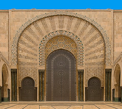 Hassan II Mosque Doors Pano(4) (jarhtmd) Tags: africa morocco casablanca canon eos70d architecture arch bldgdetail building door panorama pano religious symetrical mosque
