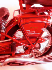 Peugeot (Steve Taylor (Photography)) Tags: digitalart design pink red metal chrome newzealand nz southisland shiny peugeot pedal spring seat bike motorbike nelson airport