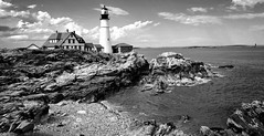a day in black and white... *Explored* (jose_abc) Tags: capeelizabeth usa summer 2018 canon maine lighthouse ocean ju sea rocks clouds nature explored
