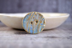 mystic blue oval button (Cherryhill Studio) Tags: ceramic handcrafted buttons ceramicbuttons