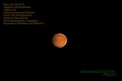 Mars B1 July 13th 2018 (OPMmmGroup) Tags: sun moon galaxy galaxies telescope reflector refractor newtonian dobsonian eq mount goto celestron vx solar system nebula star stars cluster globular astronomy astroimaging astrophotography planets planet deep space mars jupiter saturn mercury neptune pluto uranus canon 70d tiffendfx