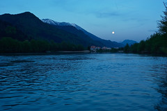 Moments after sunset (natural illusions) Tags: moon river april spring nature pentax k200d rawtherapee blue water slovenia europe lb1415 allrightsreserved landscape trees mountains valley evening twilight reservoir lake reflection interesting 満月 city pomlad luna