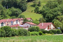 French Serenity (Haytham M.) Tags: outdoors outdoor rooftops bricks green tree trees alps serene houses countryside french village
