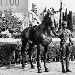 Dalian knight (Go-tea 郭天) Tags: dalian liaoning dongbei xinghai square statue horse ride riding rider horseman knight forbidden posing pose portrait man mustache hat happy fun funny enjoy enjoying sun sunny shadow canon eos 100d 50mm prime street urban city outside outdoor people candid bw bnw black white blackwhite blackandwhite monochrome naturallight natural light asia asian china chinese