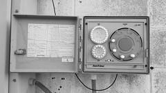 'Rain Bird' Lawn Sprinkler Control with instructions (N.the.Kudzu) Tags: suburban atlanta georgia norcross gwinnettcounty industrial control bw canon70d canonefslens abandoned