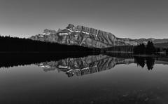 Reflection perfection (Mark Heine Photos) Tags: monochromemountains canadian mtrundle twojacklake explorealberta travelalberta rockymountains alberta markheine tonesofplace canada banff blackandwhite bnw rockies