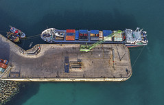 Valiant 1 (Ningaloo.) Tags: alderney shipping valiant harbour unloading dock aerial