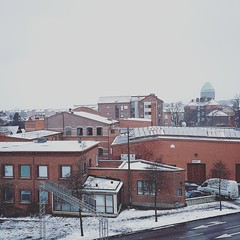 Malmö Snow (johanlennon) Tags: malmö snow snö sverige sweden white red black gray way road street snowy snowcovered rooftop rooftops covered watertower landmark old architecture sofielund district area central part view views bright light calm mellow nature is amazing