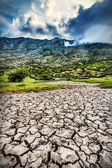 Waiting For The Element Of Life... (Explored 1.7.2018) (Constantinos_A) Tags: sony alpha a6300 sky field mountain tree soil bushes clouds storm green yellow blue nature landscape outdoors trikala peloponnese mountainside dirt greece grass animal road forest rock