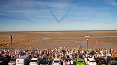 Red Splits (4oClock) Tags: nikon d90 18105 redarrows raf raf100 100years celebration event cleethorpes promenade seafront humber spectacle plane hawk red white blue british aeroplane armedforcesday summer north east england britain uk eastcoast lincolnshire northeastlincs beach seaside afd18 planes aeroplanes formation aerobatic royalairforce hawkersiddeley bae t1a squadron crowd people