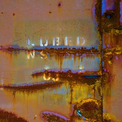 Lubed (StephenReed) Tags: lubed abstract art abstractart metal rust paint chippedpaint colors square traincar nikond3300 stephenreed
