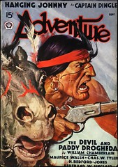 Adventure Vol. 99, No. 5 (Sept., 1938). Cover Art by W. F. Soare (lhboudreau) Tags: pulp magazine magazines pulpmagazine pulpmagazines magazinecoverart pulpmagazinecover pulpmagazinecovers magazinecover magazinecovers pulpart 1938 september1938 volume99number5 coverart illustration illustrations drawing drawings action actionnovel adventuremagazine adventure stories horse horseback western wildwest outdoor outdoors americanwest frontier americanfrontier pulpfiction magazineart americanindian indian nativeamerican rifle gun anger angry headband feather soare wfsoare art hangingjohnny captaindingle thedevilandpaddydrogheda williamchamberlain earring gunfight popularpublication