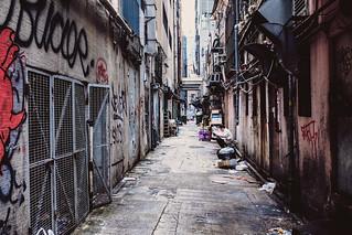 Taking a break in the alley