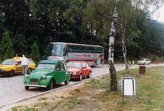 Citroën 2CV + Ford Escort MkIII XR3i + Volkswagen Passat B2 Variant + Trabant 601 Universal Setra S215HD Berlin 05-09-1990a (mugicalin) Tags: setra setrabus setras215hd s215hd germanbus busreisenomnibuskraus omnibuskraus kraus germancar classiccar trabant trabant601 601 trabant601universal break stationwagon combi kombi ford fordcar fordclassic fordescort escort fordescortmkiii 2cv citroën2cv frenchcar twincylinder tweelingcilinder citroën citroëncar citroënclassic boxer boxermotor youngtimer smallcar flattwin greencar voitureverte yellowcar voiturejaune redcar redcars voiturerouge adac strassenwacht adacstrassenwacht années90 1990 allemagne deutchland germany 10fav