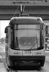 Tram (Sarunas Sabaitis) Tags: poland polska warsaw blackandwhitephotography canon transport tram streetphotography bw rails publictransport vehicle