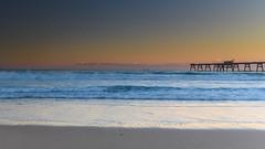 Sunset Seascape and Wharf (Merrillie) Tags: sand landscape sunset seashore nature swansea newsouthwales waves nsw beach ocean lakemacquarie sea bay coastal seascape natural waterscape catherinehillbay coast australia seaside