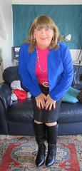 Me (Trixy Deans) Tags: crossdresser cd cute crossdressing crossdress classic classy sexyheels sexylegs boots pink pearls skirt