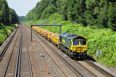 Pirbright, Surrey UK  |  2018 (keithwilde152) Tags: br 66955 deepcut pirbright junction surrey uk 2018 landscape countryside main line tracks cutting freight train diesel locomotives outdoor summer sun