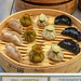 Dim sum with halibut, squid and shrimp, mussels and shrimp and gedze with chicken