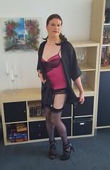 Something pink underneath (Rikky_Satin) Tags: silk satin dressing gown lingerie highheels sandals crossdresser transgender tgirl tgurl gurl sissy nylons suspender garter belt stockings