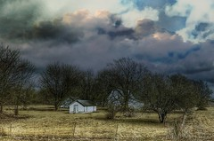 Little barn; big sky.... (Sherrianne100) Tags: countryside rural fence clouds farm barn missouri