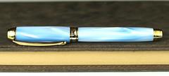 Sky Pearl Blue Fountain Pen - Bock Gold Nib (BenjaminCookDesigns) Tags: fountainpen custom bespoke engraved personalised classic vintage artdeco style gift birthday christmas fpgeeks fpn giftforhim giftforher füllfederhalter
