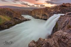 Aldeyjarfoss (Visualvalhalla) Tags: aldeyjarfoss iceland waterfall longexposure sunset clouds slow water streaks yellow