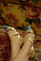 My new Marie Antoinette Shoes! (Primrose Princess) Tags: marieantoinette fancyshoes versailles paris france rosebertin queenoffrance vintage antique silk pearls damask shoes slippers cinderella princess primroseprincess