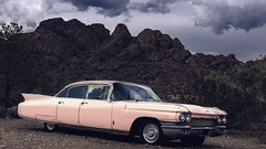 024693763528-102-Pink Cadillac-7-16x9-Cinimatic (Jim There's things half in shadow and in light) Tags: 2018 america cadillac canon5dmarkiv eldoradocanyon july miningtown mojave nelson nevada nevadacameraclubfieldtrip southwest tamron2470mmf28divcusdg2 usa car classic clouds cloudy desert ghosttown pink stormy summer